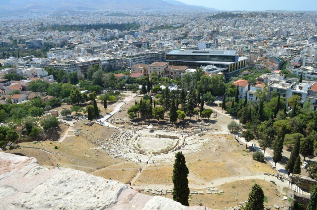 The theatre of Dionysus and the Acropolis Museum-At the Acropolis of Athens