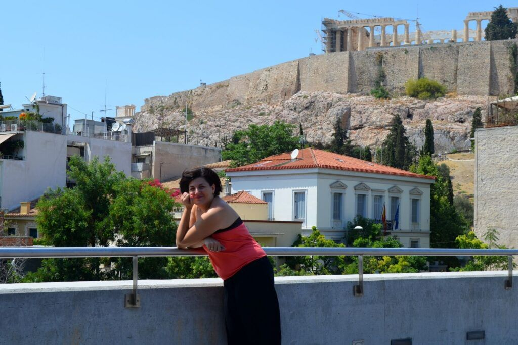 At the Acropolis Museum with kids, Athens, Greece